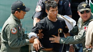 Police officer Luis Astuquillca on arrival in Callao on 30 April