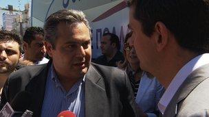 Panos Kammenos campaigning in Patras