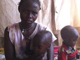 A mother and her children in the Yida refugee camp in South Sudan