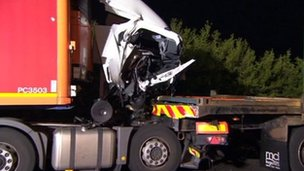 Wreckage of lorry