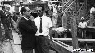Oscar Niemeyer on the site of an office block in Rio de Janeiro, 1950