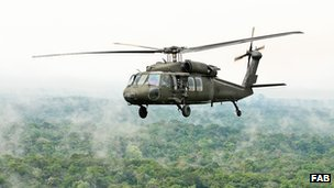 Brazilian military helicopter in the Amazon