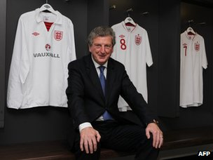 Newly appointed England football manager Roy Hodgson in the dressing room at Wembley Stadium