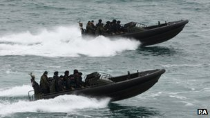 Royal Marine commandos off Weymouth and Portland on 3 May 2012