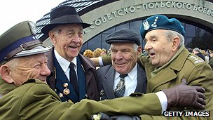 War veterans at Lenino battle site