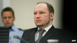 Anders Behring Breivik in court, 3 May 2012
