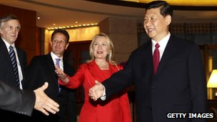 China's Vice President Xi Jinping (R) meets US Secretary of State Hillary Clinton (2nd L), US Treasury Secretary Timothy Geithner ( 2nd R) at Diaoyutai State Guesthouse, Beijing, 3 May 2012