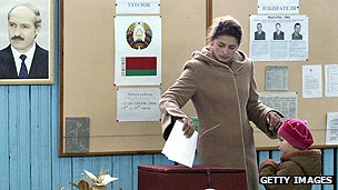 Woman votes in Belarus referendum