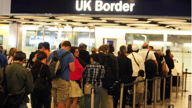 Queue at Heathrow airport's border control