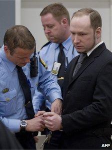 Breivik in court (23 Apr 2012)