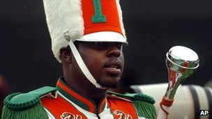 Robert Champion in his Marching 100 uniform at a football game in Orlando, Florida 19 November 2012