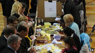 Votes being counted in Bradford