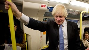 Boris Johnson on Tube train