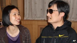 Photo released by Hu Jia of Chinese legal activist Chen Guangcheng meeting Zeng Jinyan in Beijing in late April, 2012