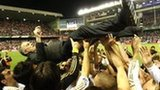 Jose Mourinho held aloft by Real Madrid players