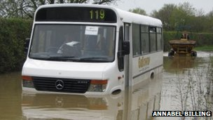 Bus stuck in flood water in Cretingham, by Annabel Billing