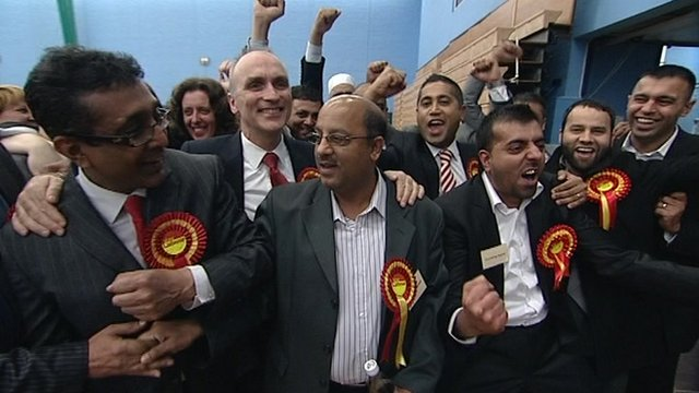 Labour party members celebrate in Derby