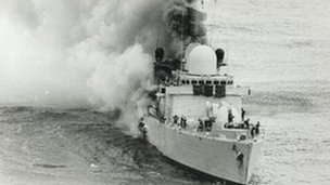HMS Sheffield on fire after being hit by an Argentine Exocet missile