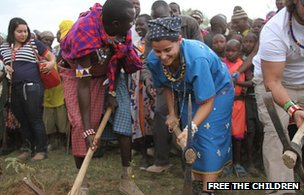 Nelly Furtado at the ground-breaking ceremony at the Oleleshwa Girls Secondary School in Kenya