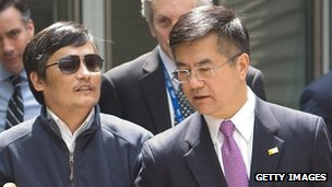 Chen Guangcheng (L) talks with US Ambassador to China Gary Locke on May 2 2012 in Beijing