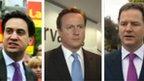 Ed Miliband, David Cameron and Nick Clegg graphic