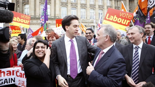 Ed Miliband congratulates leader of the Labour group Albert Bore 