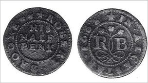 Robert Brooke halfpenny from 1668