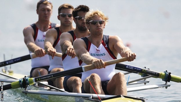 Alex Gregory, Pete Reed, Tom James and Andrew Triggs Hodge in the GB men&#039;s four