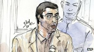 Adlene Hicheur in court, 29 Mar 12 - sketch