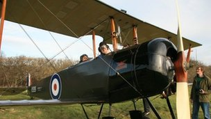 Dan Snow in a light aircraft