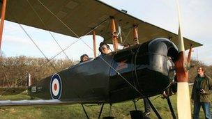 Dan Snow in a light aircraft