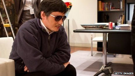 Chinese dissident Chen Guangcheng in handout photo provided by US embassy in Beijing, 2 May.