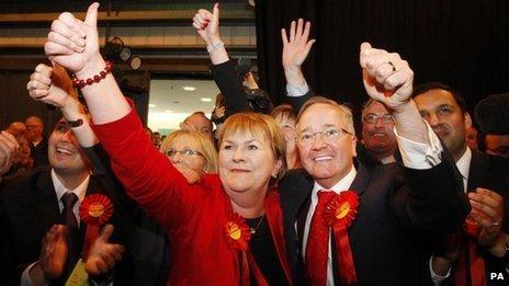 Scottish Labour Leader Johann Lamont and Councillor Gordon Matheson