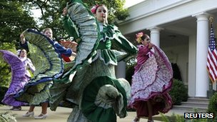 Mexican traditional dancers perform at the White House