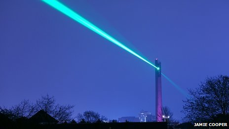 Laser beam from the National Lift Tower
