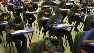 Students in exam room