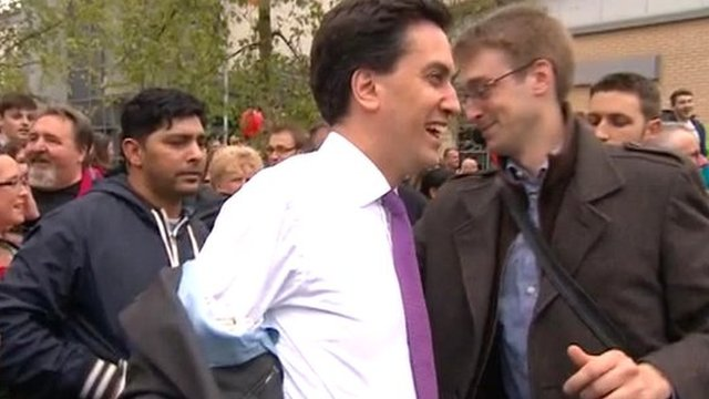 Ed Miliband's jacket is hit by an egg