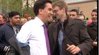 Ed Miliband&#039;s jacket is hit by an egg