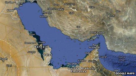 Screengrab of Google Maps showing Gulf region