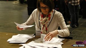 woman looks at ballot papers