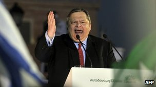 Evangelos Venizelos addresses his supporters during party's main campaign rally in front of the Greek Parliament, at Syntagma square in Athens