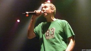 Adam Yauch on stage in New York after the 9/11 attacks, October 2001