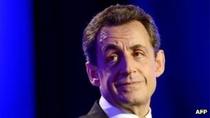 Mr Sarkozy campaigning in Sables d'Olonne, western France, on Friday.