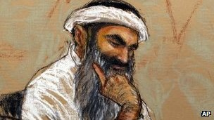 Sketch by courtroom artists of Khalid Sheikh Mohammed during the arraignment hearing in Guantanamo, 5 May.
