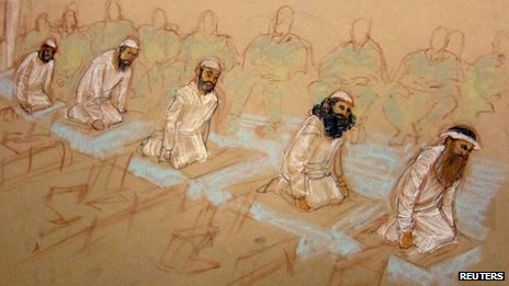 9/11 defendants pray in courtroom at Guantanamo Bay