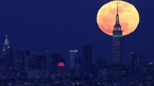 Supermoon over New York
