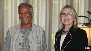 Grameen Bank founder Mohammed Yunus with US Secretary of State Hillary Clinton, Dhaka, 6 May