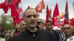 Opposition leader Sergei Udaltsov at the rally in Moscow (6 May)