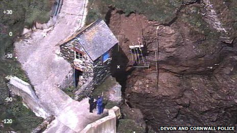 Hallsands - aerial picture from police helicopter