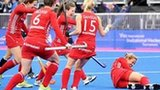 Great Britain's Crista Cullen (right) is injured in scoring